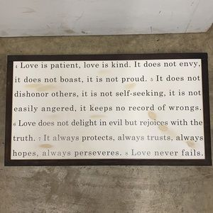 Vine & Branches Wall Decor 13 x 24 LOVE IS PATIENT